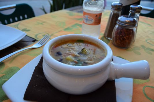 Minestrone soup in Italian Presto restaurant Golden Zone