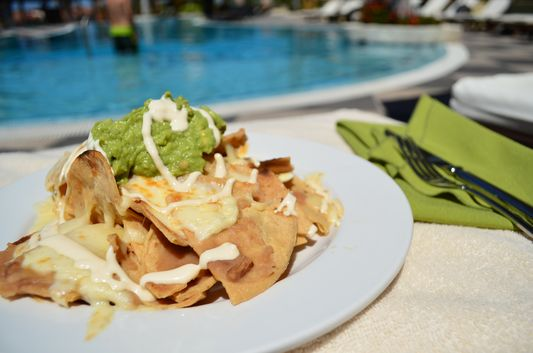 Nachos with guacamole at La Pergola restaurant
