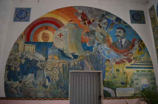 One of the murals in the Cultural Center Todos Santos