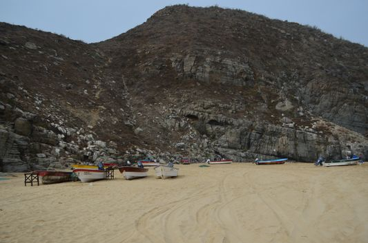 Punta Lobos beach with the hill we had to climb