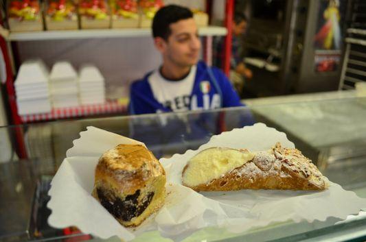 Sicilian cannolo pastry in Taormina