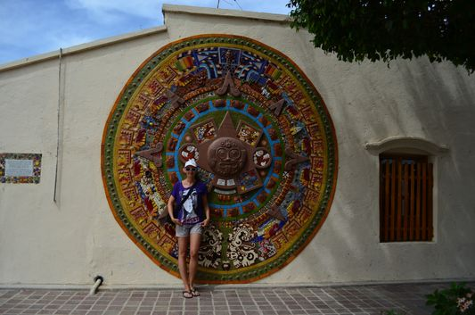 The colorful Aztec calendar in Todos Santos