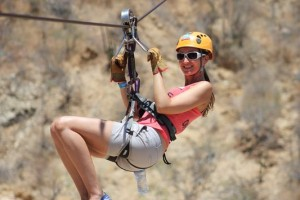 another zip line with knees up