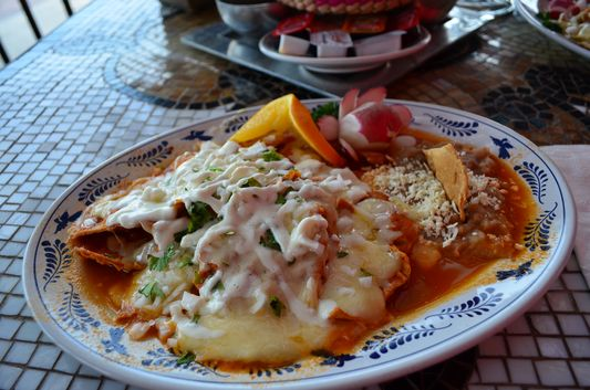 chilaquiles in Los Deseos restaurant Golden Zone