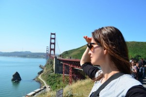 crazy sexy fun traveler at Golden Gate Bridge
