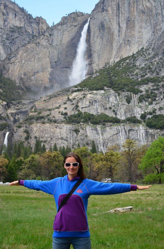 crazy sexy fun traveler at Yosemite Fall