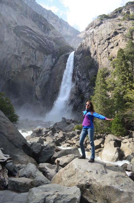 getting closer and more wet at Yosemite Falls