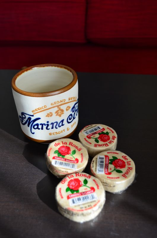 handcraft coffee cup and Mazapan sweets I received at Marina Fiesta