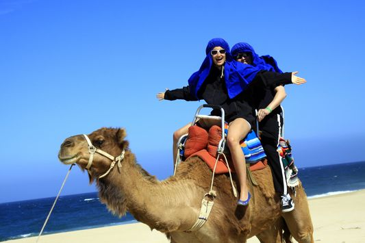 having fun at camel riding