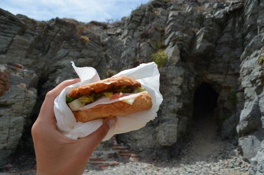 lunch at fisherman shrine at Las Palmas beach