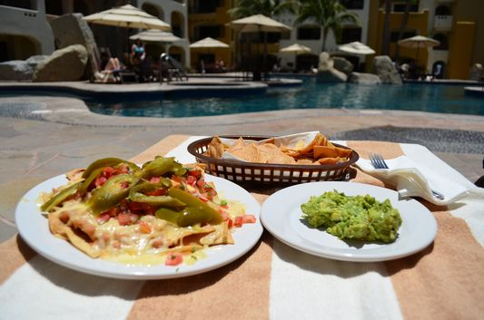 lunch time by the pool at La Palapa restaurant Marina Fiesta