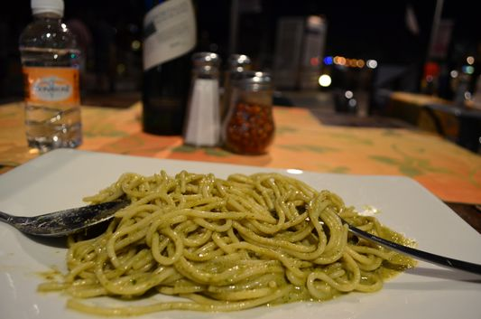 my favorite pasta al pesto in Presto restaurant Golden Zone