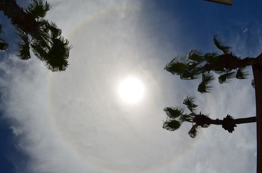 rainbow around the Sun - sun dog seen from Marina Fiesta