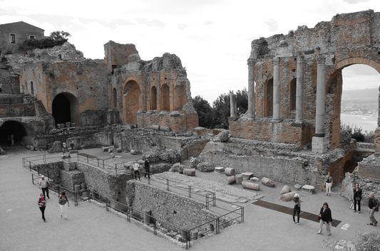 the Greco-Roman amphitheatre in Taormina in sepia colors