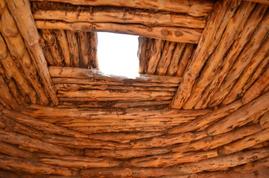 the Hogan dwelling wooden roof from inside