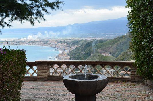 the beach view from Trevelyan's public garden in Taormina
