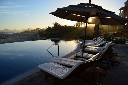 the main Hacienda Encantada pool at sunset time