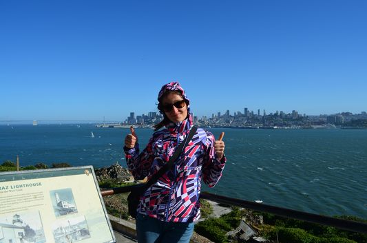 unpleasantly windy and cold on Alcatraz island
