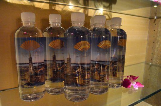 Mandarin Oriental water bottle with San Francisco skyline