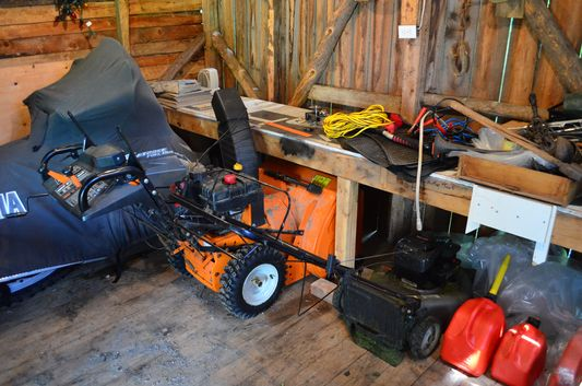 snow mobile and snow machine in a Canadian house