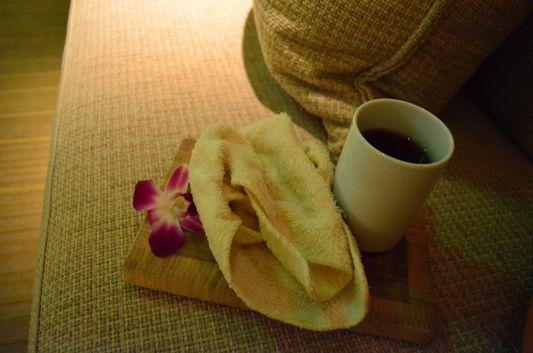 warm hibiscus tea at Mandarin Oriental San Francisco spa