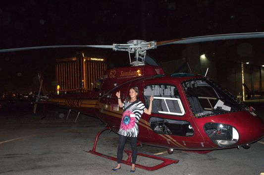 happy after helicopter ride in Vegas