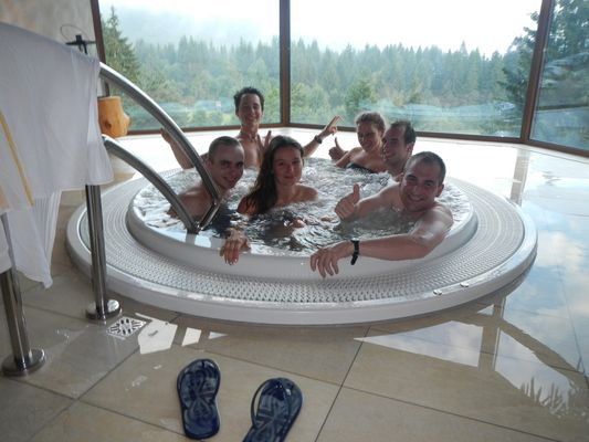 having fun with friends in Low Tatras