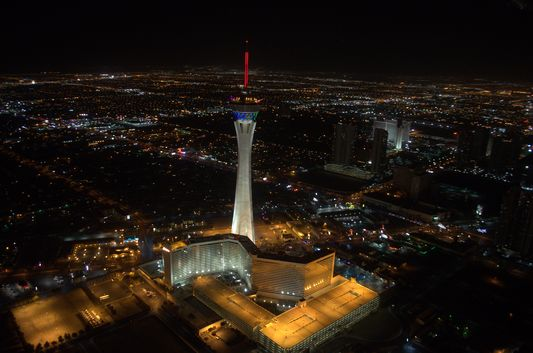 night Stratosphere Tower in Vegas