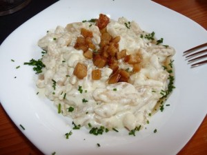 tasty but unhealthy halusky in Slovakia