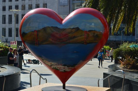1 of the hearts at Union Square in San Francisco