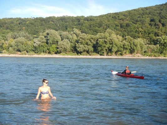 watching kayaks on the Danube