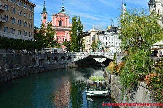 Ljublana famous bridge view