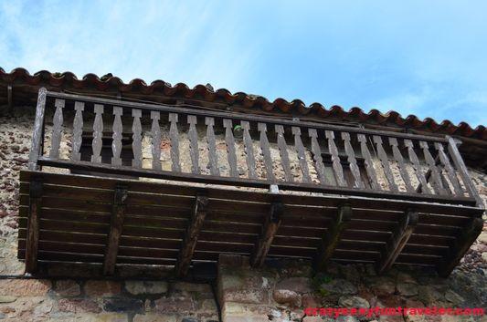 a wooden balcony