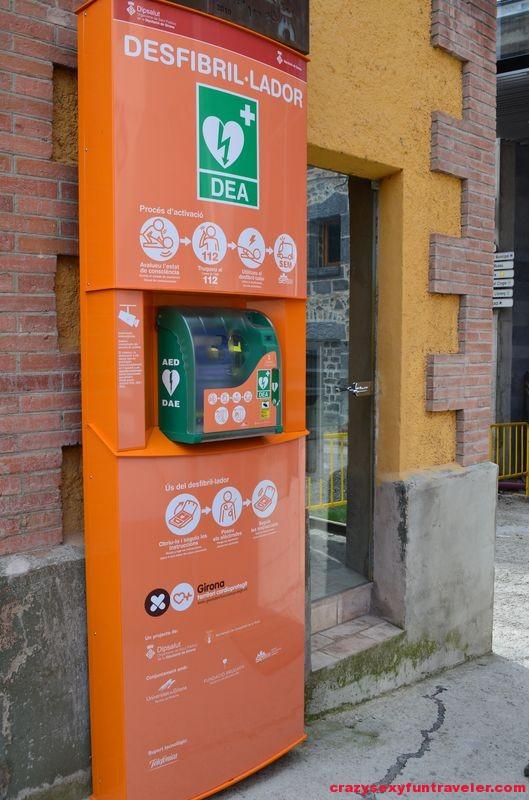 defibrillator at the street of Castellfollit de la Roca