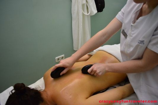 finishing the hot stone massage