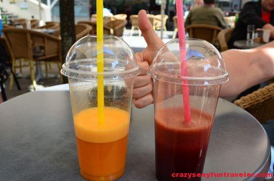 fresh juices from Juicebox bar in Ljubljana