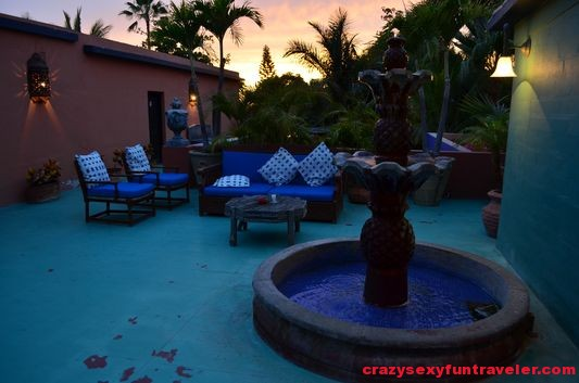 one of the Hotel Cali patios at sunset