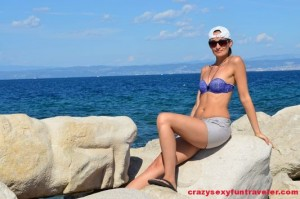 relaxing after walking to Piran