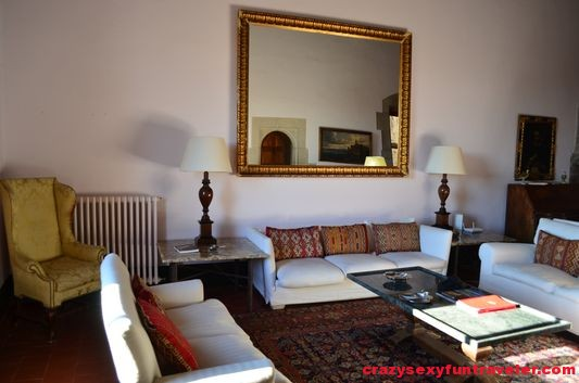 the huge living room in Castell de Rocaberti  where we spent some time