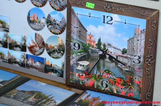 wooden clocks at Pogacarjev trg market