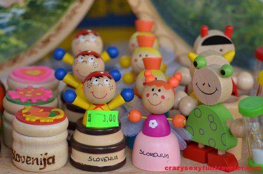 wooden figures at Pogacarjev trg market