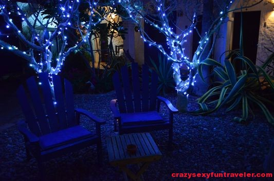 El Angel Azul garden at night
