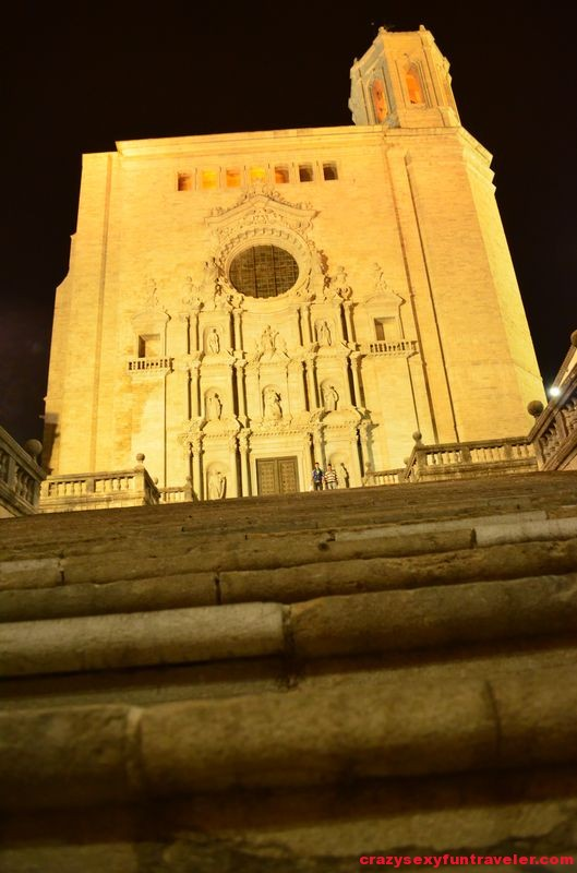 Girona cathedral with different light