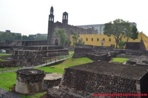 Tlatelolco archaeological site with Templo de Santiago