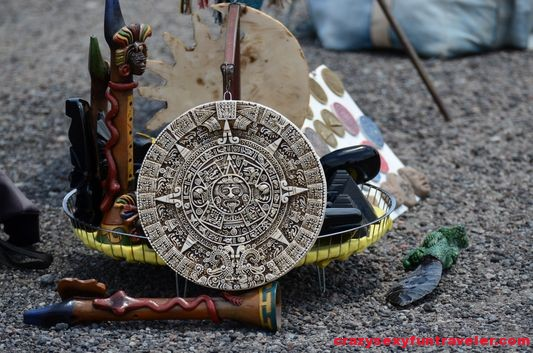 a small Aztec calendar souvenir sold at Teotihuacan Mexico