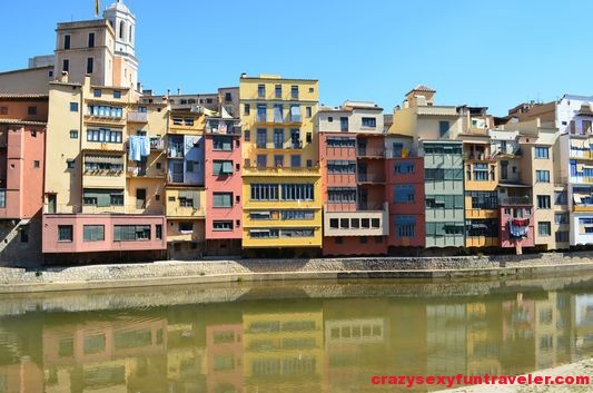 beautifully painted facades of Girona houses along the Onyar river