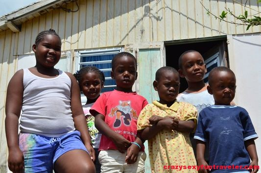 happy poor Nevisian kids