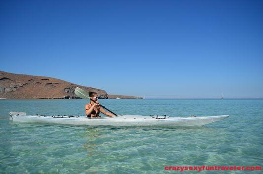 having fun kayaking at Balandra beach