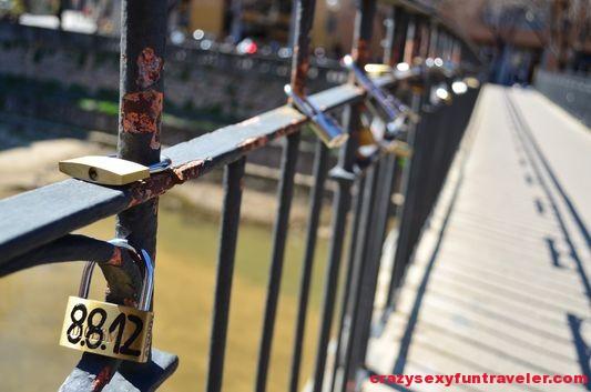 lovers' padlocks on Pont de la Princesa Girona