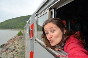 crazy sexy fun traveler on Le Massif de Charlevoix train